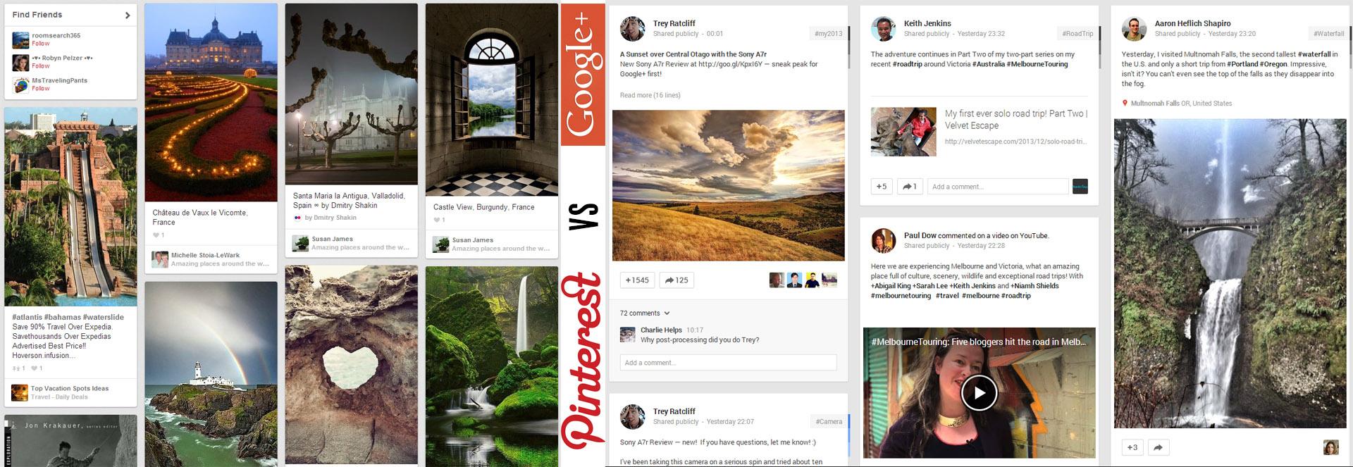 Pinterest and Google+ Design Comparison